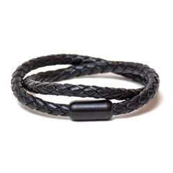 Braided Double Wrap Bracelet (Black)