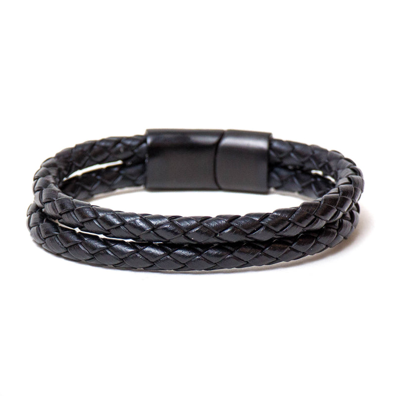 Double Braided Single Wrap Bracelet (Black)