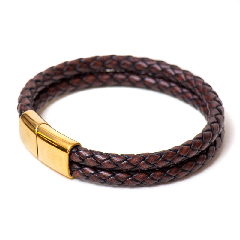 Double Braided Single Wrap Bracelet (Brown)