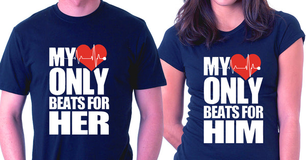 1958bef2 My Heart Only Beats For Him / Her - Couple Tees Online - TEEFRY