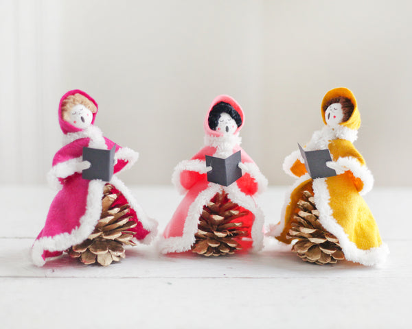 Vintage Craft: Pine Cone and Felt Victorian Carolers