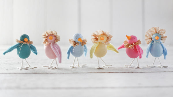 Spun Cotton Spring Birds with Coffee Filter Bonnets and Ruffs