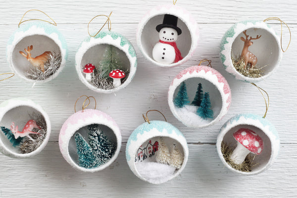 Make Retro Diorama Ornaments filled with Miniatures - Vintage Christmas Craft Tutorial