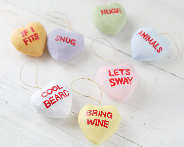 Valentine's Day Craft Project: Paper Mache Conversation Hearts