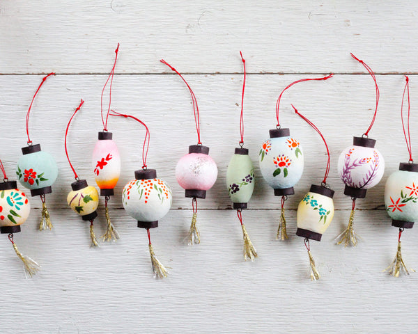 Vintage Style Spun Cotton and Paper Lantern Ornaments