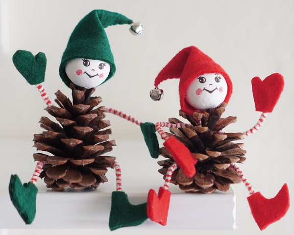 Vintage Christmas Pine Cone Pixies! Fun DIY Holiday Craft