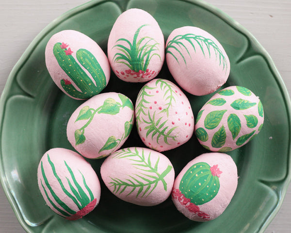 Plants on Pink Easter Eggs - Painted Spun Cotton Eggs