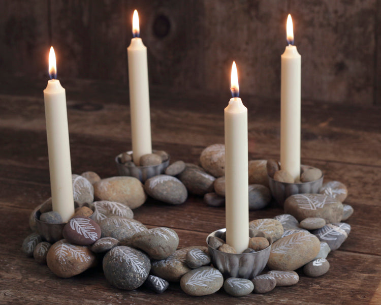 DIY Advent Wreath with Painted Rocks