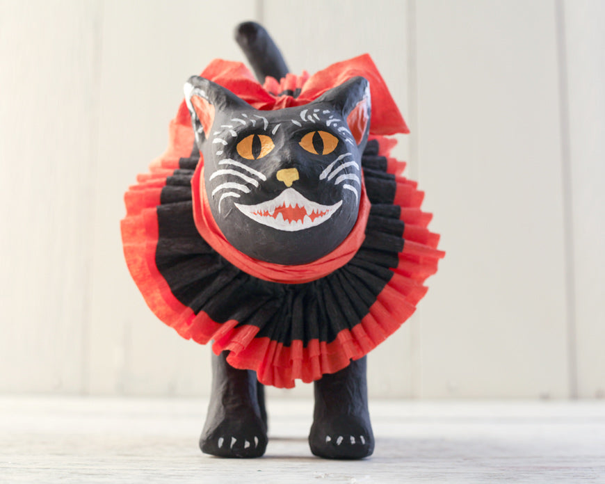 Painted Paper Mache Halloween Cat