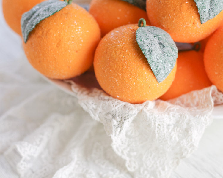 Spun Cotton Orange Fruit Christmas Ornaments