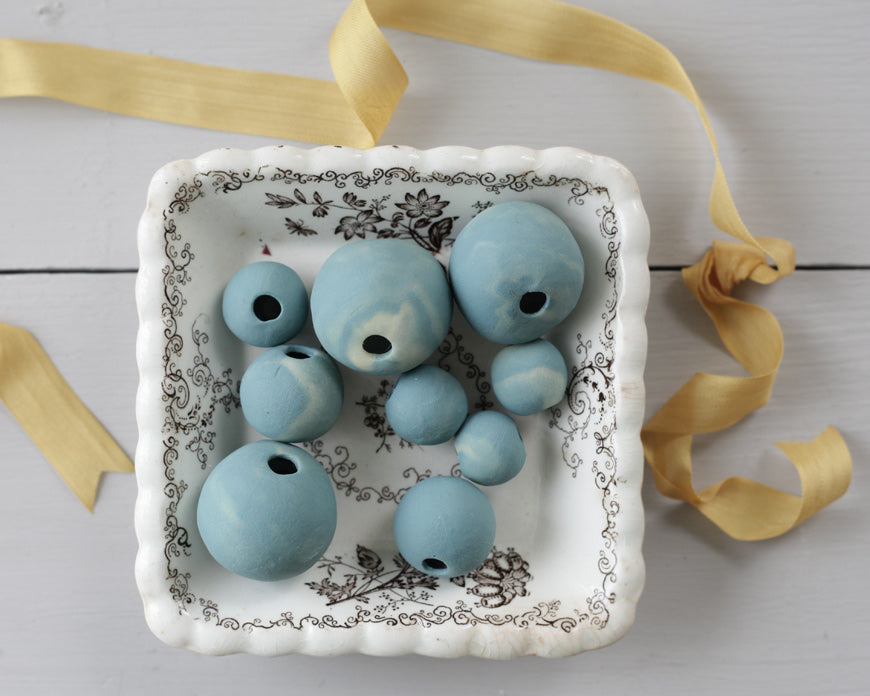 hollow polymer clay beads