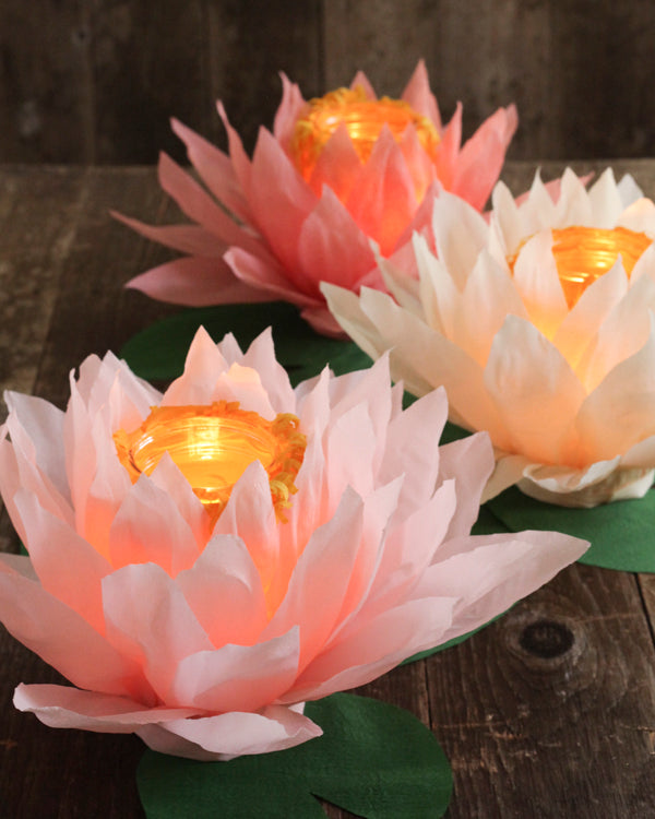Tutorial - Glowing Crepe Paper Waterlily Luminaries