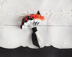 Miniature Halloween Mushrooms - 12mm Orange and Black Spun Cotton Toadstools
