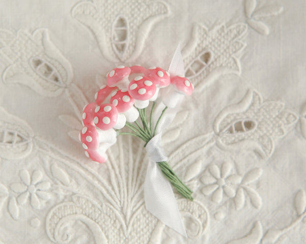 Miniature Mushrooms - 12mm Pink Spun Cotton Toadstools