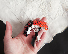 Halloween Mushrooms - 18mm Orange and Black Spun Cotton Toadstools