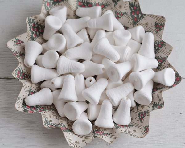 Slender Spun Cotton Bells - 38mm Vintage-Style Craft Shapes, 8 Pcs.