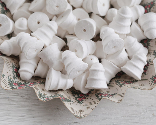 Spun Cotton Bells - 32mm Small Retro Striped Bell Craft Shapes, 8 Pcs.