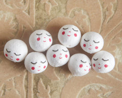 Spun Cotton Heads: SWEET ANGEL - Vintage-Style Cotton Angel Heads with Faces