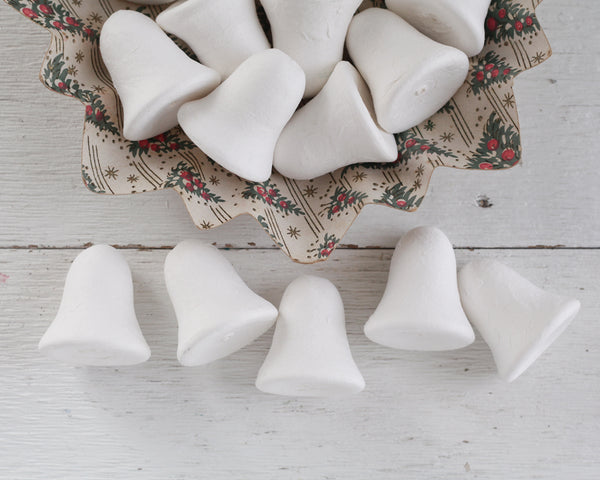 Spun Cotton Bell Ornament Blanks - 50mm Vintage-Style Craft Shapes, 5 Pcs.