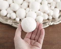 Spun Cotton Balls, Vintage-Style Craft Shapes, Select by Size