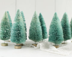Minty Bottle Brush Trees - 6 Inch Bleached Christmas Trees, Set of 3