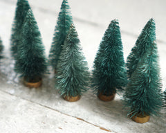 Miniature Dark Pine Bottle Brush Trees - One Dozen Forest Green Sisal Trees