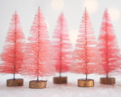 Pink Bottle Brush Trees - One Dozen Dyed Miniature Sisal Trees
