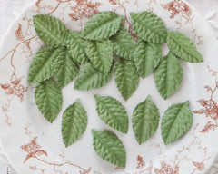 Paper Leaves - Embossed Die Cut Mulberry Paper Leaf Shapes, Moss Green, 24 Pcs.