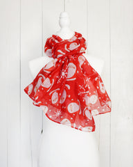 Retro Santa Christmas Scarf - Red