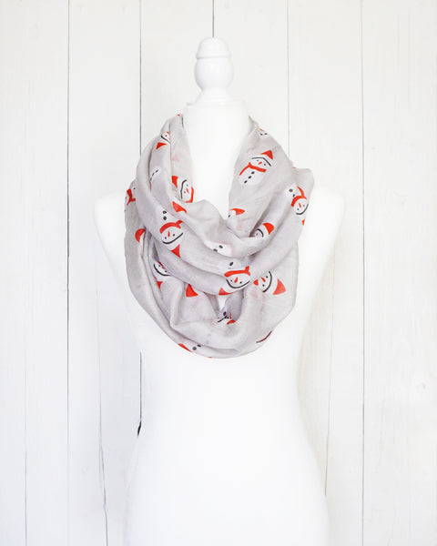 Snow Day Snowman - Infinity Christmas Scarf