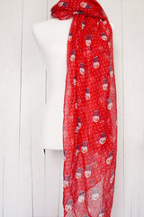 Polka Dot Snowman - Red Christmas Scarf