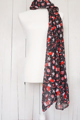 Peppermint Stockings - Black Christmas Scarf