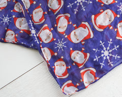 Retro Santa Christmas Scarf - Blue