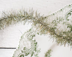 Tinsel Garland - Aged Moss Green Vintage Style Christmas Trim, 12 Foot Spool