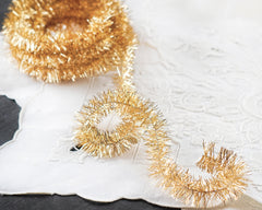 Wired Tinsel Trim - Gold Lurex Garland, 3 Yds.