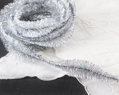 Silver Tinsel Bump Chenille Trim - Metallic Lurex Garland, 3 Yds.