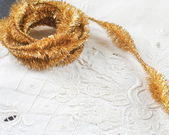 Gold Tinsel Bump Chenille Trim - Metallic Lurex Garland, 3 Yds.