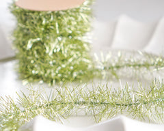 Tinsel Garland - Chartreuse Green Vintage Style Christmas Trim, 12 Foot Spool