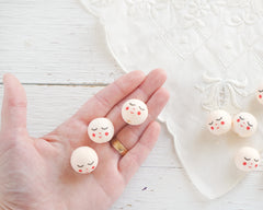 Cream Spun Cotton Heads: SWEET ANGEL - Vintage-Style Cotton Angel Heads with Faces
