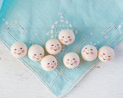 Cream Spun Cotton Heads: FOLK DOLL - Vintage-Style Cotton Angel Heads with Faces