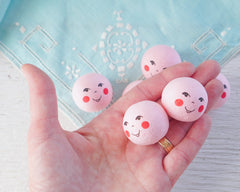 Pink Spun Cotton Heads: FOLK DOLL - Vintage-Style Cotton Angel Heads with Faces