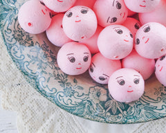 Pink Spun Cotton Heads: DREAMER - Vintage-Style Cotton Doll Heads with Faces