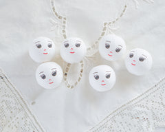 Spun Cotton Heads: DREAMER - Vintage-Style Cotton Doll Heads with Faces