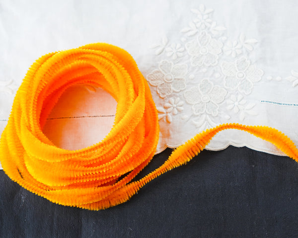 Bump Chenille - Bright Orange Pipe Cleaner Wired Craft Trim, 4 Yds.