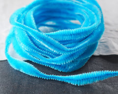 Bump Chenille - Bright Aqua Blue Pipe Cleaner Wired Craft Trim, 4 Yds.