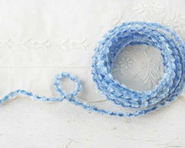 Caterpillar Bump Chenille - Light Blue Crushed Velvet Wired Trim, 3 Yds.