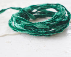 Mini Bump Chenille - Vintage Emerald Green Crushed Velvet Wired Trim, 3 Yds.