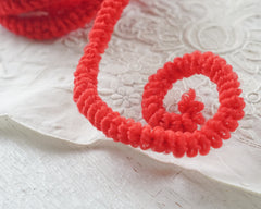 Red Caterpillar Trim - Vintage Curly Wired Craft Cord, 3 Yds.