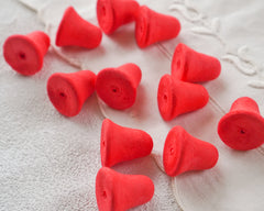 Small Red Spun Cotton Bells - 24mm Vintage-Style Craft Shapes, 12 Pcs.