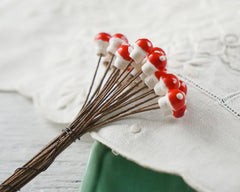 Micro Mushrooms - Tiniest Red Spun Cotton Toadstools, 7x10mm, 24 Pcs.